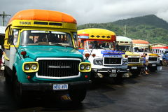 Vibrantly painted bus in Samoa Stock Image