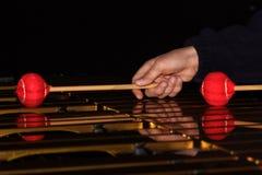 Vibraphone. Musician playing xylophone vibraphone close-up stock photos