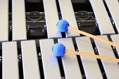 Vibraphone Keys and Mallets. Vibraphone keyboard and a pair of mallets Royalty Free Stock Images
