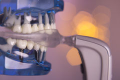 Vibrating dental device with invisible orthodontics. No people Royalty Free Stock Photos