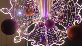 Vibrating lights decorative and globes by Christmas stock video footage