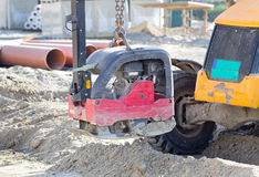 Vibrating plate compactor replacement Royalty Free Stock Photos