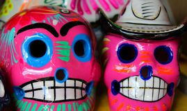 Vibrating skulls mexican pink stock photo