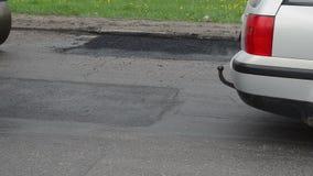 Vibration roller asphalt stock video footage