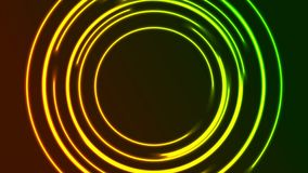 Vibrerande glödande neon cirklar den videopd animeringen vektor illustrationer