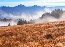 Vibrerande horisontallandskap, dimmiga berg Arkivfoton