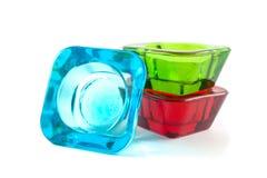 Vibrerande mångfärgad glass stearinljushållare Arkivbilder