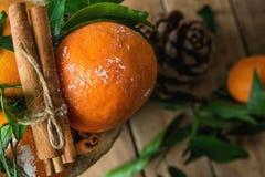 Vibrerande orange tangerin på filialgräsplansidor som kanelbruna pinnar som binds med, tvinnar, sörjer kotten på Wood bakgrund Ju Arkivfoto