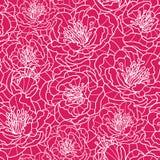 Vibrerande rött snör åt den sömlösa modellen för blommor Royaltyfri Bild