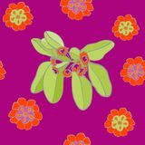 Vibrerande Violet Floral Pattern Seamless Background vektor vektor illustrationer