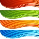 Vibrierende Farbmoderner abstrakter Wellen-Fahnen-Satz lizenzfreie abbildung