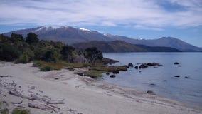 Vibrierende Ufer von See Wanaka stock footage