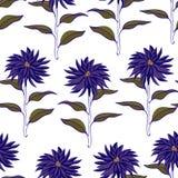 Vibrierende Violet Floral Repeat Print Pattern im Vektor lizenzfreie abbildung