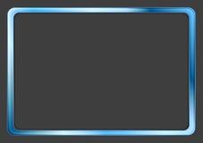 Vibrierender blauer Neonrahmen auf dunklem Hintergrund Stockfotos