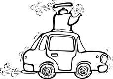 Vibrierendes Auto mit kochendem Kessel auf dem Dach Stockbild