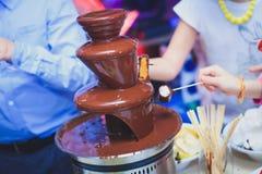 Vibrierendes Bild des Schokoladen-Brunnens Fontain auf Kindern scherzt die Geburtstagsfeier mit, die den Kindern ist, die herum s Stockfotografie
