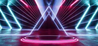 Vibrierendes Purpur-Neonblau Psychadelic-Zusammenfassung glüht futuristisches Leuchtstoff Sci FI Laser-Schaukasten-Stadiums-Dunke vektor abbildung