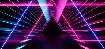 Vibrierendes Purpur-Neonblau psychedelische Zusammenfassung gl?ht futuristisches Leuchtstoff Sci FI Laser-Schaukasten-Stadiums-Du lizenzfreie abbildung