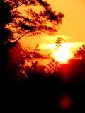 Vibrierendes Sonnenlicht mit Himmel des orange Rotes während der Dämmerungsstunden des Morgensonnenaufgangs und Abendsonnenunterg Lizenzfreies Stockfoto