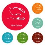 Vibrio Cholerae icons circle set vector. Isolated on white background Royalty Free Stock Photo