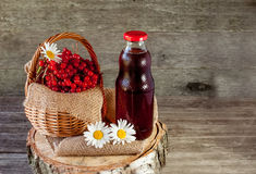 Viburnum berries in a basket on a napkin with daisies near the glass transparent bottle of juice. Rustic. Copy space. Stock Photos
