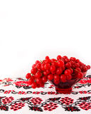 Viburnum on embroidered cross-stitch pattern. Ukrainian symbol Royalty Free Stock Photography