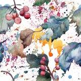 Viburnumblad Seamless bakgrund mönstrar Textur för tygtapettryck stock illustrationer