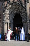 Vicar meeting public, Lichfield Cathedral. Royalty Free Stock Photo