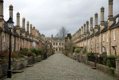 Vicar's Row. The symetrical houses along Vicar's Row, Wells, England Royalty Free Stock Photo