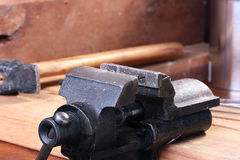 Vice. Metalwork vice for fastening of processed details royalty free stock image