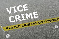 Vice Crime concept. 3D illustration of VICE CRIME title on the ground in a police arena Royalty Free Stock Image