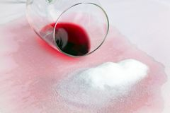 Vice empty glass of red wine. Salt. Stock Photo