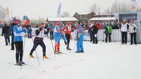 Vice-governor of St. Petersburg Vladimir Kirillov warming up at the start of Ski Track stock footage