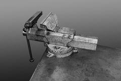 Vice Mounted On Workbench Royalty Free Stock Photography