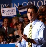 Vice President Candidate Paul Ryan. Giving a speech at a rally in swing state Colorado on October 21 2012 stock photography