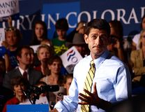 Vice President Candidate Paul Ryan. Giving a speech at a rally in swing state Colorado on October 21 2012 stock photo