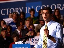 Vice President Candidate Paul Ryan. Giving a speech at a rally in swing state Colorado on October 21 2012 Stock Images