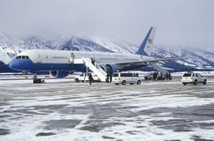 Vice President Dick Cheney landing in the Air Force 2 in Jackson Wyoming Royalty Free Stock Photography