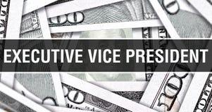 Vice-presidente executivo Closeup Concept Dólares americanos do dinheiro do dinheiro, rendição 3D Vice-presidente executivo na cé fotografia de stock