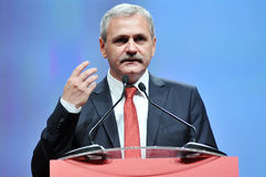 Vice prime minister of Romania Liviu Dragnea body language during speech Royalty Free Stock Photography