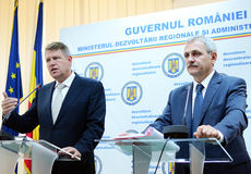 Vice Prime Minister of Romania, Liviu Dragnea and prime vice president of National Liberal Party, Klaus Iohannis Royalty Free Stock Photos