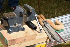Vice and woodworking tools Royalty Free Stock Photo