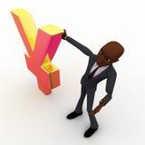 vicecapo calvo 3d con il concetto dorato di simbolo di Yen Fotografia Stock Libera da Diritti