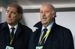 Vicente del Bosque and his assistant, Jose Antonio Grande Stock Images