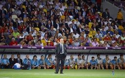 Vicente del Bosque huvudtränare av det Spanien medborgarefotbollslaget Arkivbilder