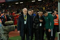 Vicente del Bosque lagledare av det nationella fotbollslaget av Spanien Royaltyfria Foton