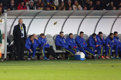 Vicente del Bosque and the Spanish bench Royalty Free Stock Image