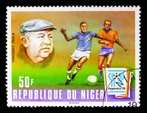 Vicente Italo Feola (1909-1975), Coach of Brasil, FIFA Worldcup. MOSCOW, RUSSIA - MAY 13, 2018: A stamp printed in Niger shows Vicente Italo Feola (1909-1975) royalty free stock images