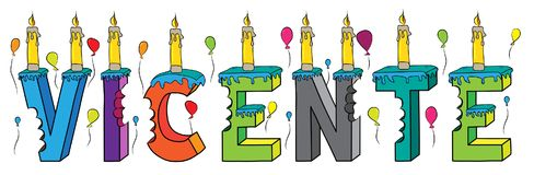 Vicente male first name bitten colorful 3d lettering birthday cake with candles and balloons.  Stock Photography