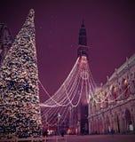 Vicenza City i Italien den huvudsakliga fyrkanten med snö med tappningeff Fotografering för Bildbyråer